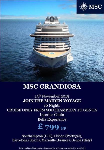 MSC Grandiosa - Maiden Voyage 13 November 2019